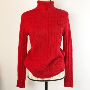 Chaps Pullover Sweater Cable Knit Red Turtleneck S